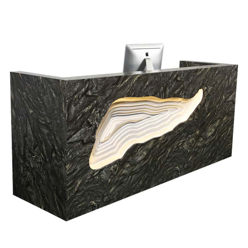 Black marble LED hair salon reception desks