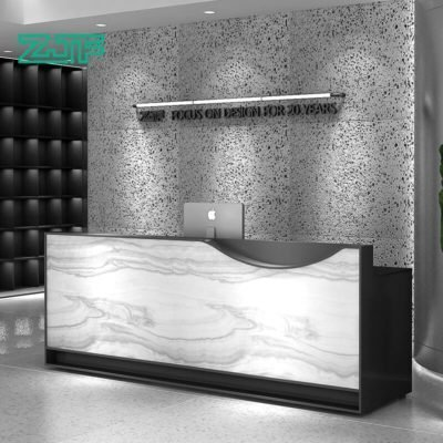 Classic arabescato marble white salon reception desk