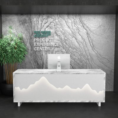 Imitate marble texture white salon reception desk