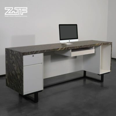 Office black marble texture small salon reception desk
