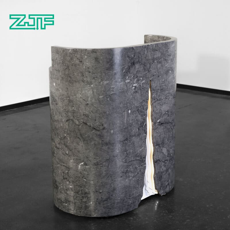 Grey marble LED modern small reception desk