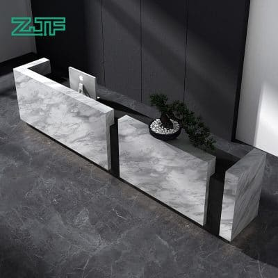 15ft long modern white marble salon reception desk