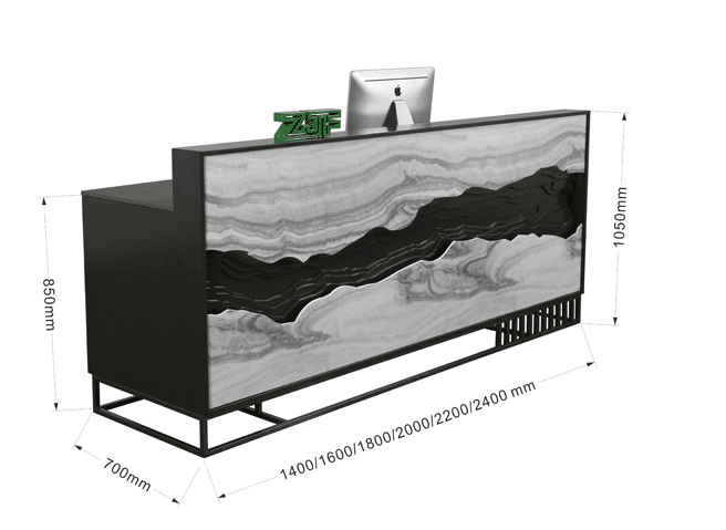 Marble look black office reception desk with Led light
