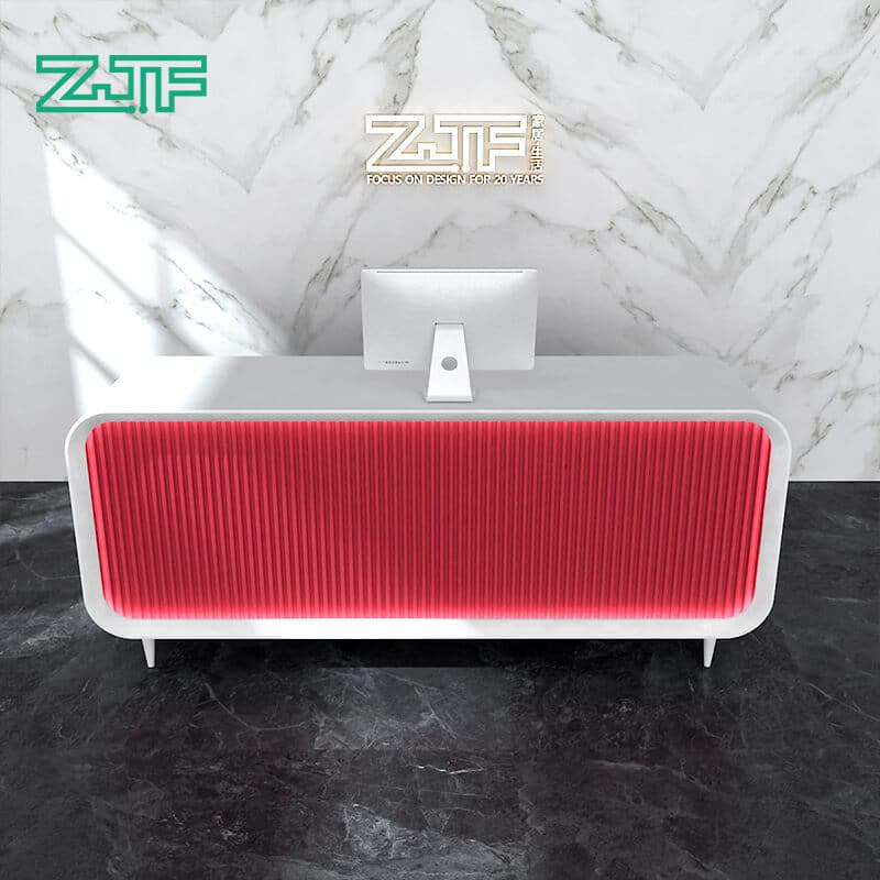 Red color led light modern salon reception desk